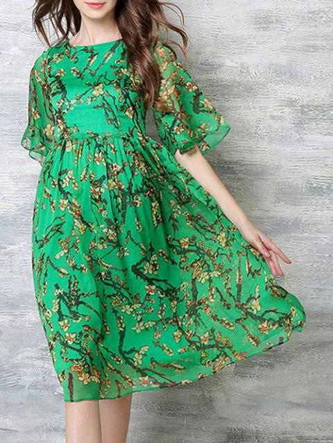 Loose-Fitting Bell Sleeves Blossom Print Dress - GREEN XL