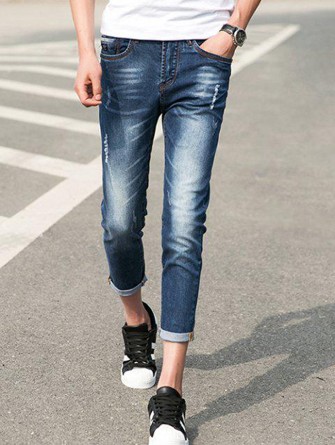 db4e0e65ee Zipper Fly Narrow Feet Hemming Design Distressed Nine Minutes of Jeans -  DEEP BLUE 31