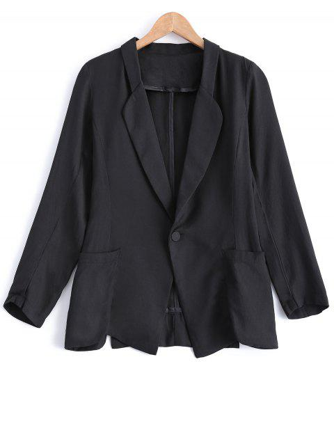 Turn Down Collar Pocket Linen One Button Blazer - Noir S