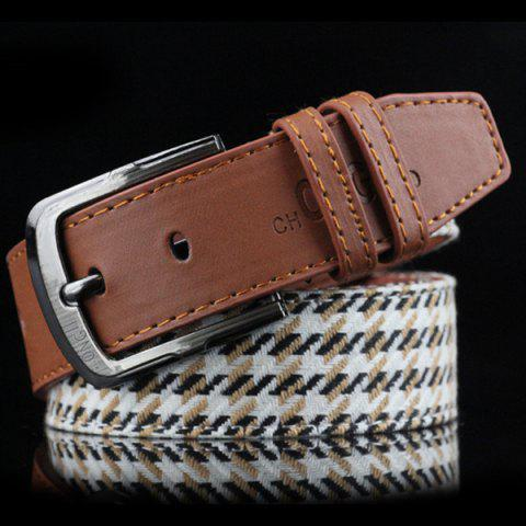 Brief Style Pin Buckle Stripe and Plaid Embroidery PU Belt - BROWN