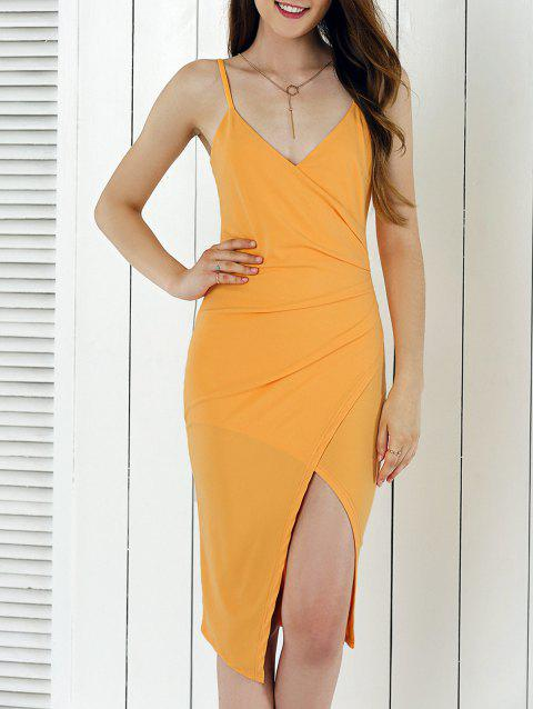 Alluring Spaghetti Strap Asymmetrical Bodycon Dress - ORANGE YELLOW L