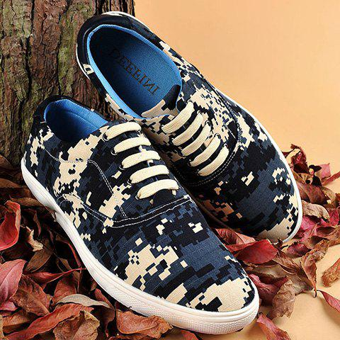 Pixel Camo Print Lace-Up Casual Shoes - DEEP BLUE 39