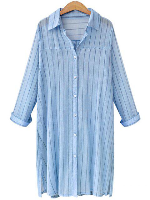 Vertical Stripe Long Sleeve Oversized Dress Shirt - LIGHT BLUE XL
