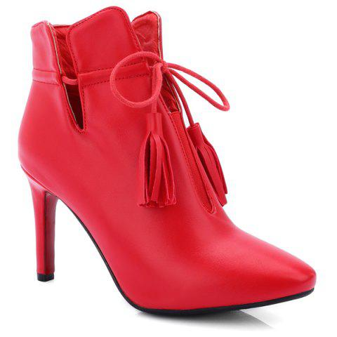 Stiletto Heel Tassels Point Toe Ankle Boots - RED 37