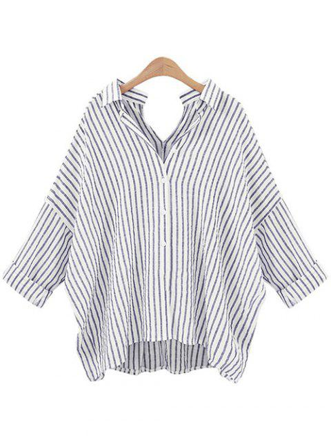 Stripe Back and  Front V-Shape Baggy Shirt - GRAY XL
