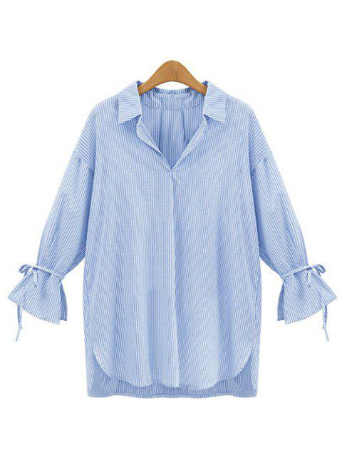 Vertical Stripe Irregular Loose Blouse - BLUE M