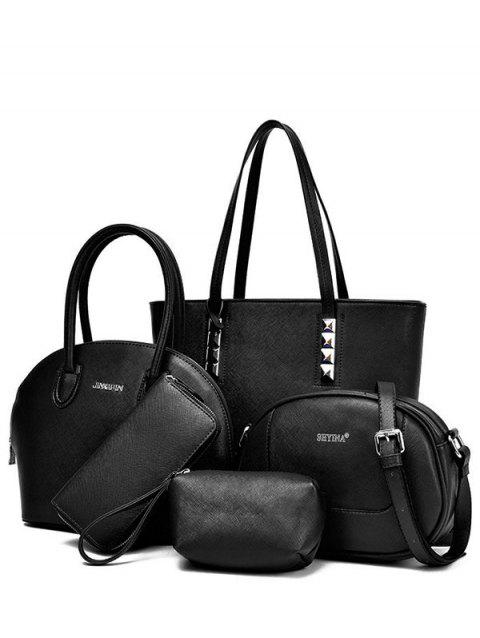 Casual Solid Color and Stitching Design Women's Tote Bag - BLACK