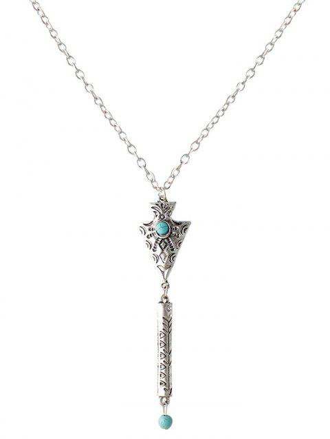 Faux Turquoise Engraved Geometric Sweater Chain - SILVER