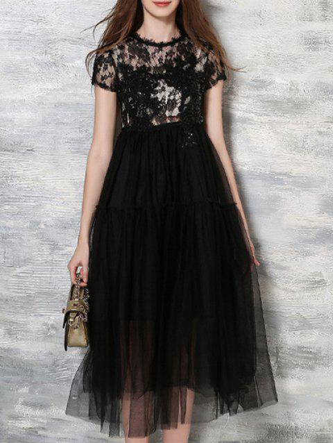 High Waist Lace Embroidery Dress - BLACK S