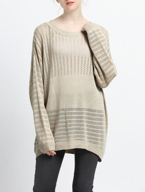 Loose Fitting Hollow Out Knitted Pullover - LIGHT KHAKI S