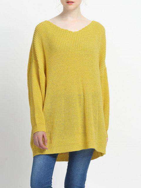 Loose Fitting Solid Color Knitted Pullover - YELLOW L