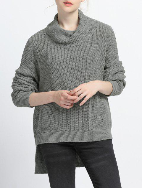 Turtle Neck High Low Pure Color Sweater - GRAY S