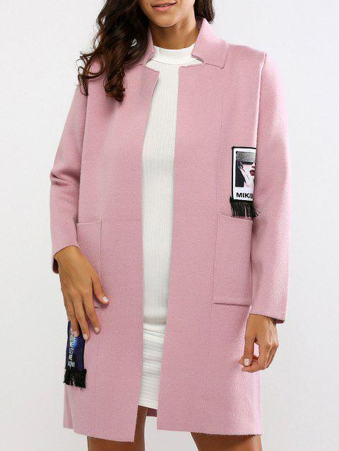 Loose-Fitting Applique Fringed Cardigan - PINK ONE SIZE