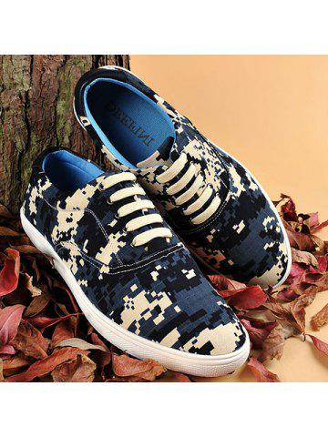 Pixel Camo Print Lace-Up Casual Shoes