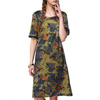 Pocket Floral Print Button Relaxed Dress