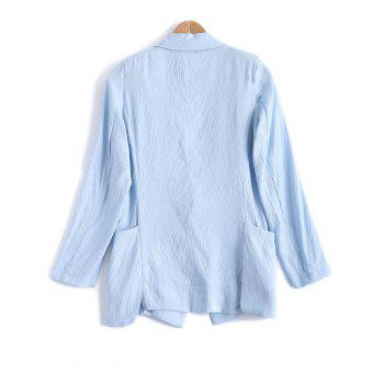 Turn Down Collar Pocket Linen One Button Blazer - Bleu clair M