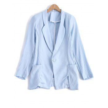 Turn Down Collar Pocket Linen One Button Blazer