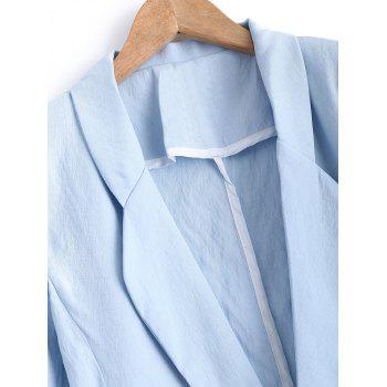 Turn Down Collar Pocket Linen One Button Blazer - LIGHT BLUE M