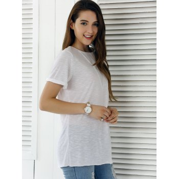 Casual Solid Color Eyelet Long T-Shirt - WHITE L