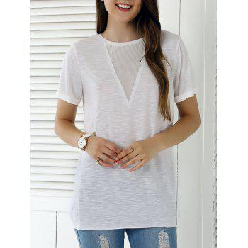 Casual Solid Color Eyelet Long T-Shirt - WHITE M