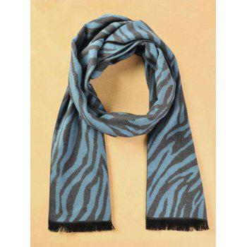 Winter Warm Zebra Stripe Pattern Fringed Scarf