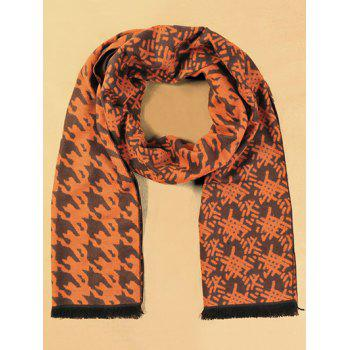 Winter Warm Houndstooth and Weaving Bamboo Basket Pattern Fringed Scarf