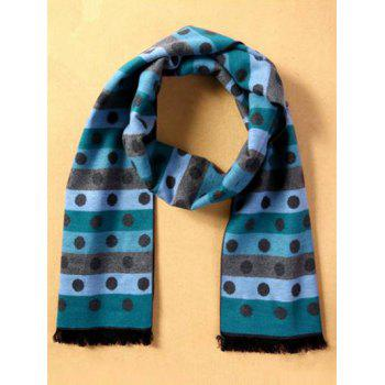 Winter Warm Polka Dot and Stripe Pattern Fringed Scarf - LIGHT BLUE LIGHT BLUE