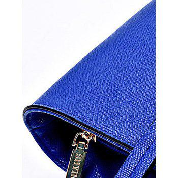 Casual Solid Color and Stitching Design Women's Tote Bag - BLUE