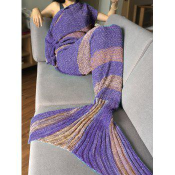 Crochet Stripe Pattern Mermaid Tail Shape Bedding Blanket