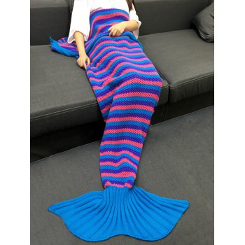 Colorful Stripe Pattern Knitting Mermaid Tail Shape Blanket
