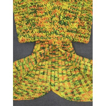Soft Crochet Knitting Mermaid Tail Shape Blanket - YELLOW