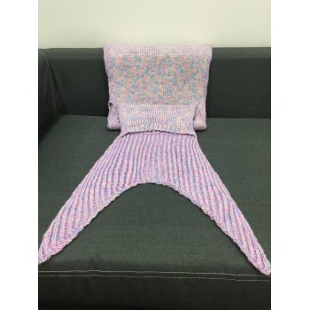 Comfortable Hollow Out Heart Shape Knitting Mermaid Tail Design Blanket - LIGHT PINK