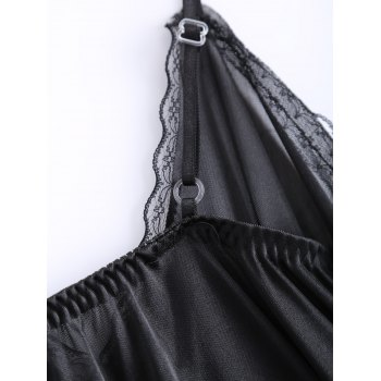 Sexy Alluring Spaghetti Strap Translucent Lace Voile Women's Pajamas - ONE SIZE ONE SIZE