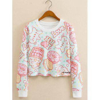 Cookies Letter Print Cropped Long Sleeve Sweatshirt