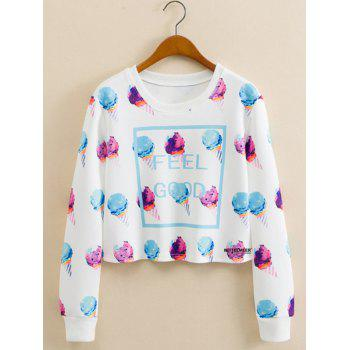 Ice Cream Print Cropped Long Sleeve Sweatshirt