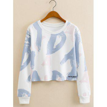 Initial Letter Print Cropped Long Sleeve Sweatshirt