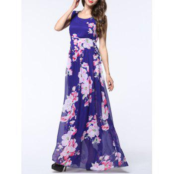 Sleeveless Floral Side Lace Up Dress