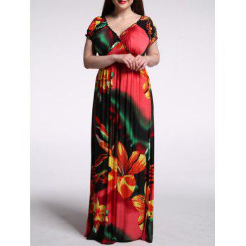 Plunging Collar Floral Casual Long Summer Dress