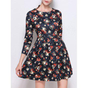 Retro Print High Waist Mini Dress