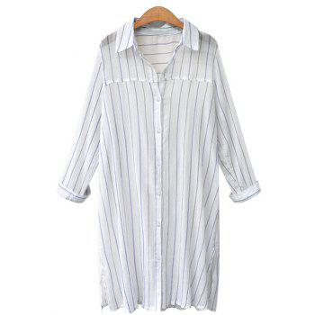 Vertical Stripe Long Sleeve Oversized Dress Shirt