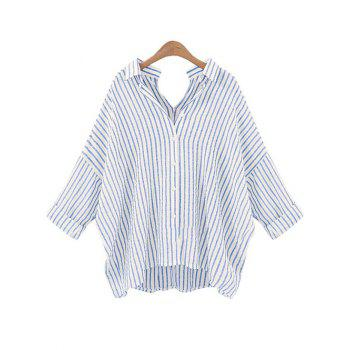 Stripe Back and  Front V-Shape Baggy Shirt