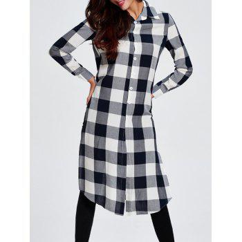 Plaid Slit Asymmetric Shirt Dress