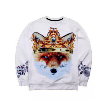 Round Neck Long Sleeve 3D Rhinestone Crown and Fox Print Sweatshirt