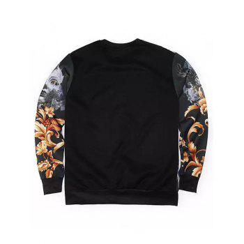 Round Neck Long Sleeve 3D Floral and Mask Lady Print Sweatshirt - BLACK XL
