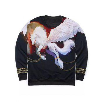 Round Neck Long Sleeve 3D Golden Chain and Pegasus Print Sweatshirt