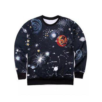 Round Neck Long Sleeve 3D Outer Space Print Sweatshirt