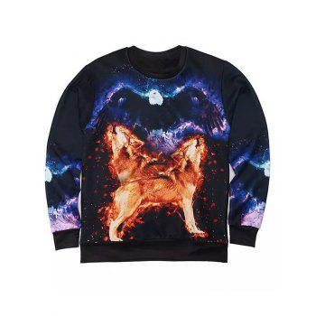 Round Neck Long Sleeve 3D Eagle and Wolves Print Sweatshirt