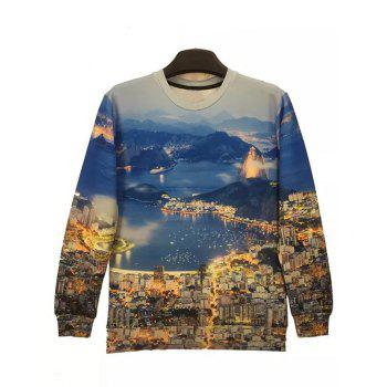 Round Neck Long Sleeve 3D City Night View Print Sweatshirt