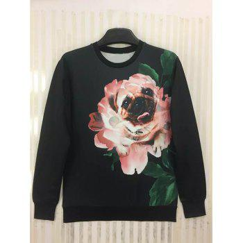 Round Neck Long Sleeve 3D Funny Dog in Flower Print Sweatshirt