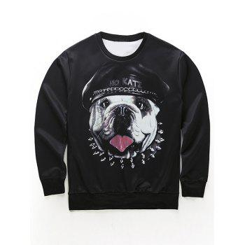 Round Neck Long Sleeve 3D Dog in the Hat Print Sweatshirt